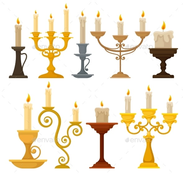 Collection of Candles in Candlesticks - Man-made Objects Objects