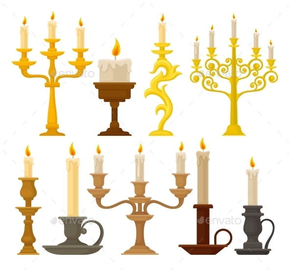 Candles in Candlesticks Set - Man-made Objects Objects