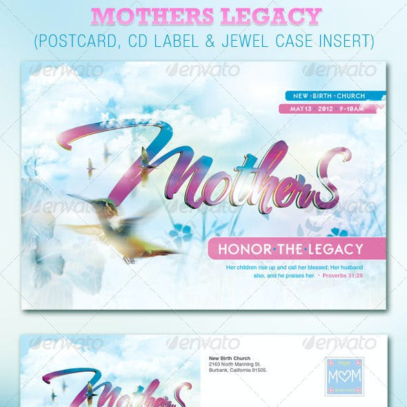Mothers Legacy Church Postcard and CD Template