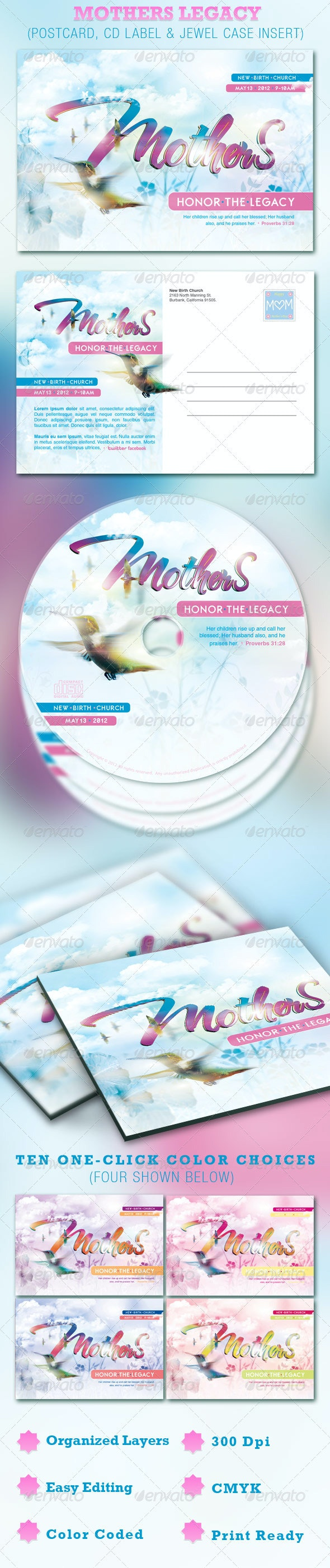 Mothers Legacy Church Postcard and CD Template - Cards & Invites Print Templates