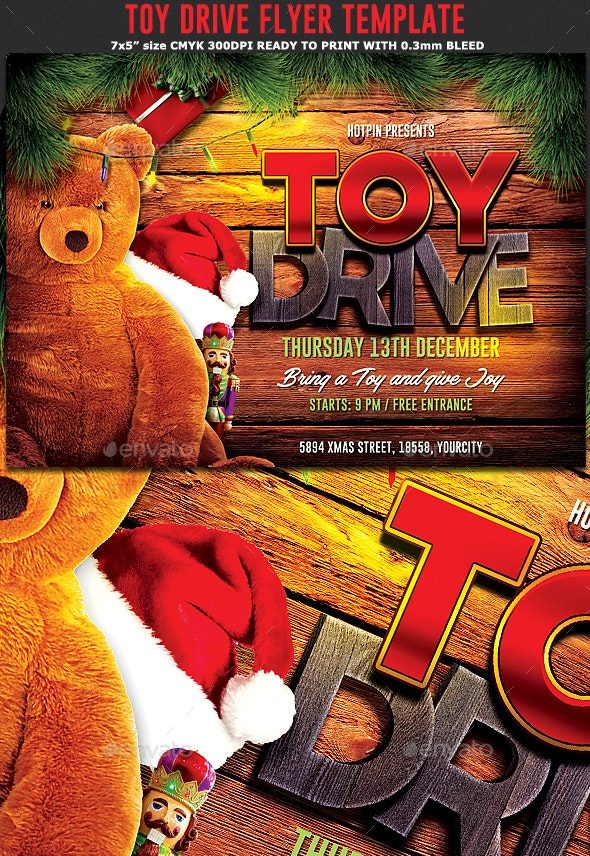 Christmas Toy Drive Flyer - Holidays Events
