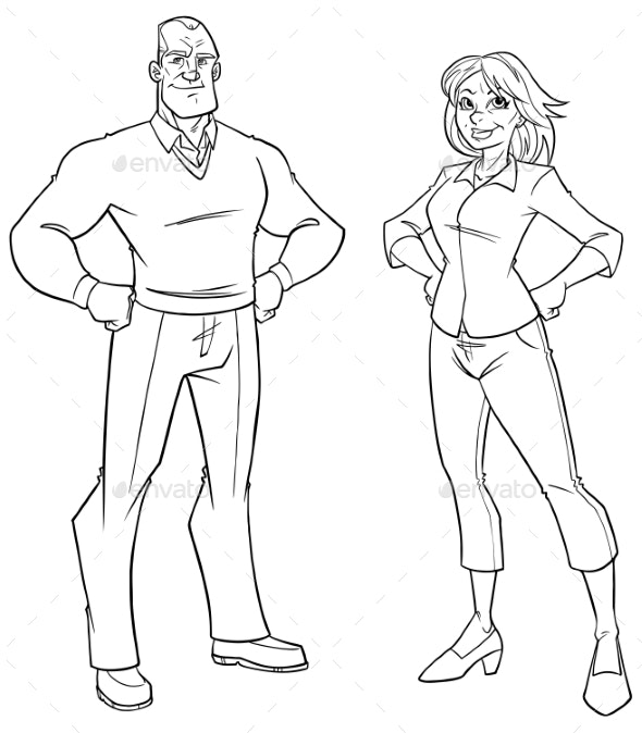 Senior Couple Line Art - People Characters
