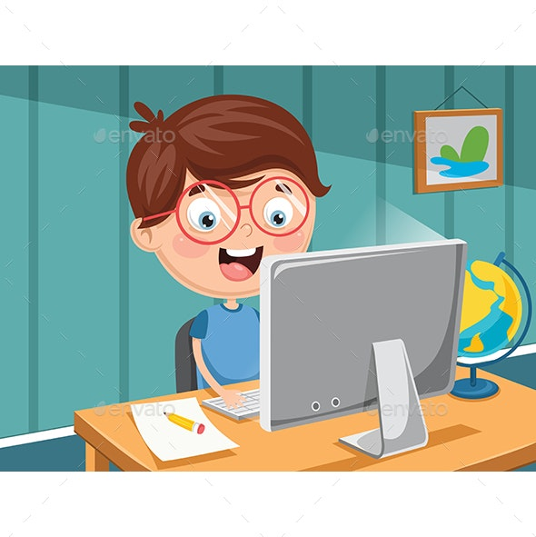 Vector Illustration Of Kids Technology - Computers Technology