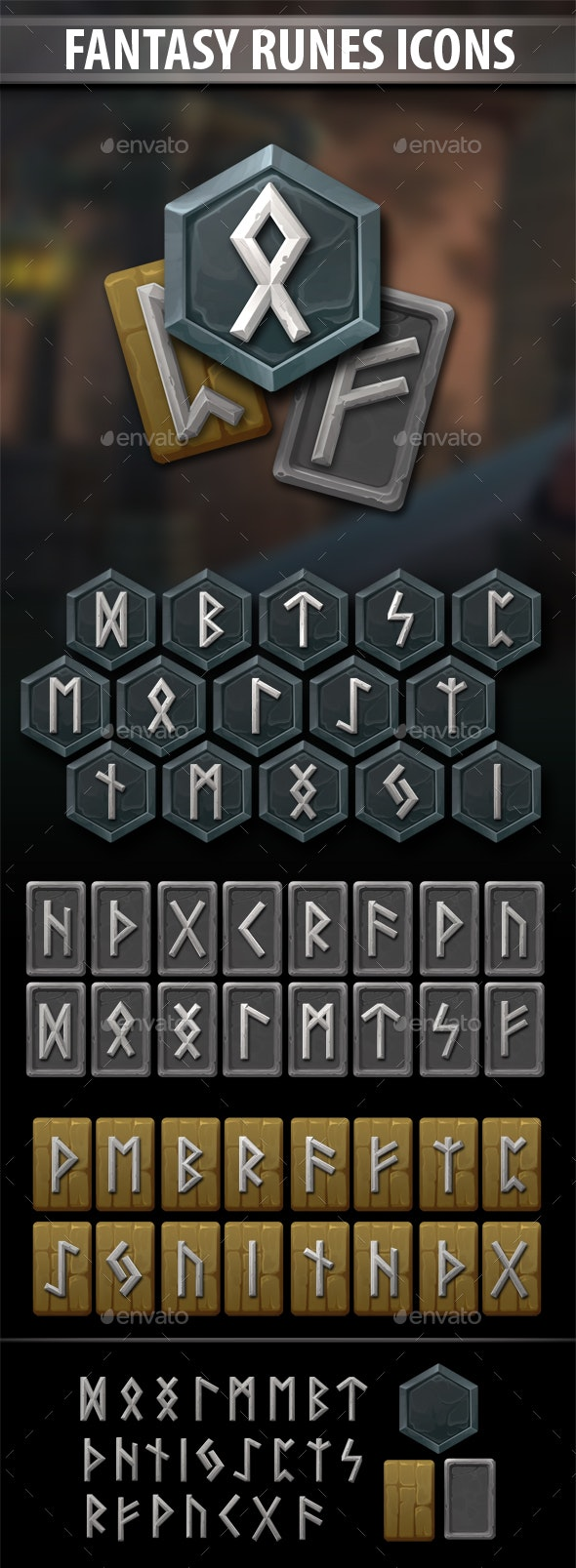 Fantasy Runes Icons - Miscellaneous Game Assets