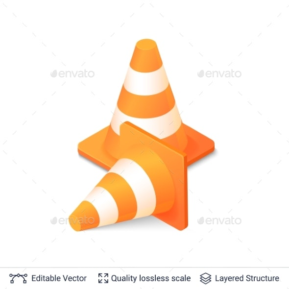 Set of 3d Traffic Cones Isolated on White. - Miscellaneous Vectors