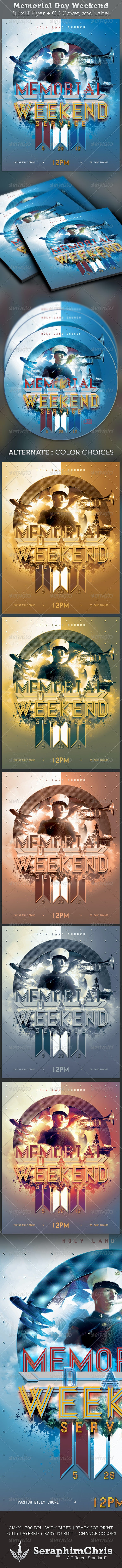Memorial Day Weekend Full Page Flyer and CD Cover - Church Flyers