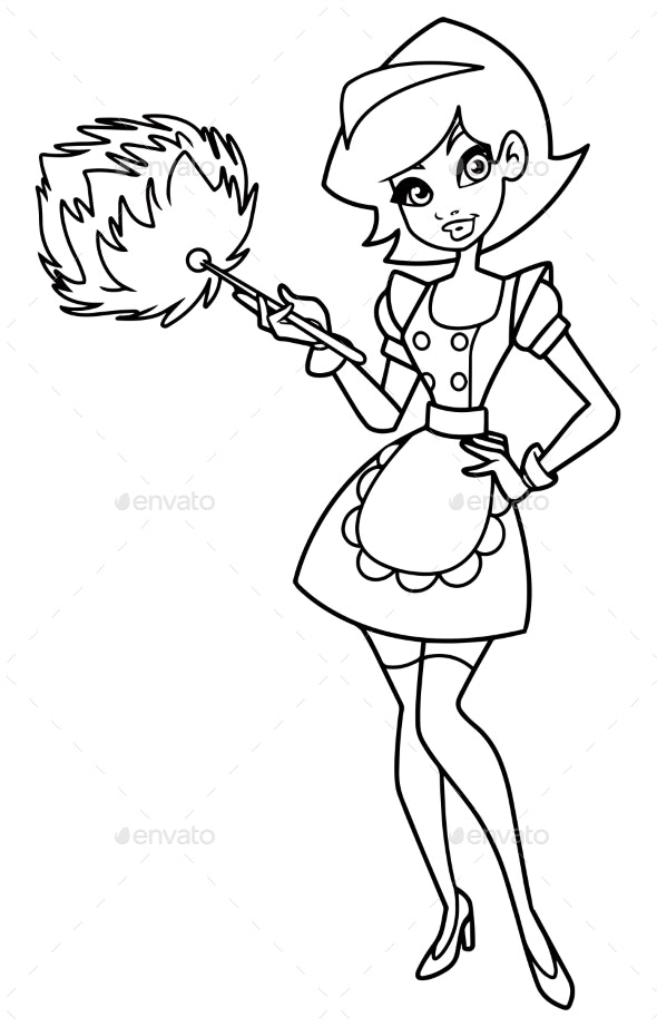 Maid Line Art - People Characters