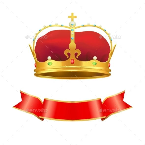 Ribbon and Crown Set Icons Vector Illustration - Miscellaneous Vectors