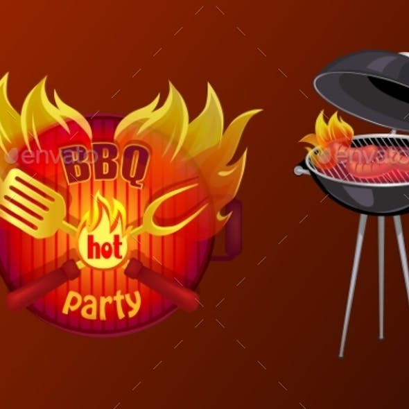 BBQ Party Poster Barbecue Vector Illustration