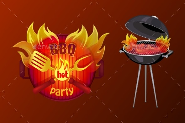 BBQ Party Poster Barbecue Vector Illustration - Food Objects