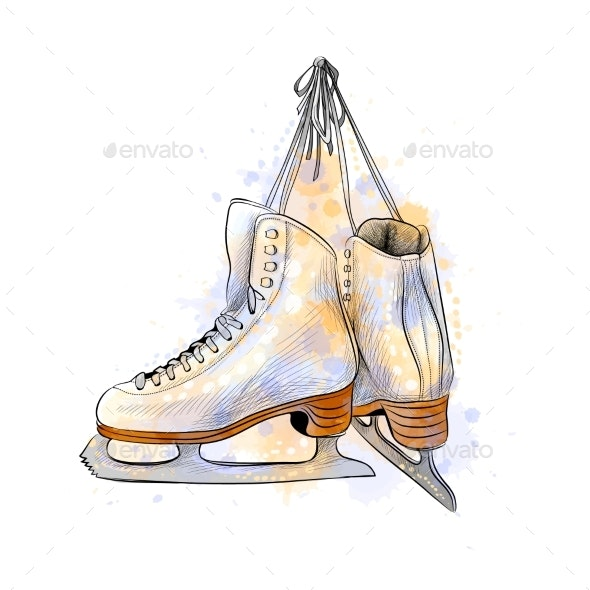 Pair of Figure Ice Skates - Sports/Activity Conceptual