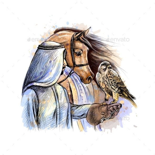 Arabian Man with a Falcon and a Horse - Miscellaneous Characters