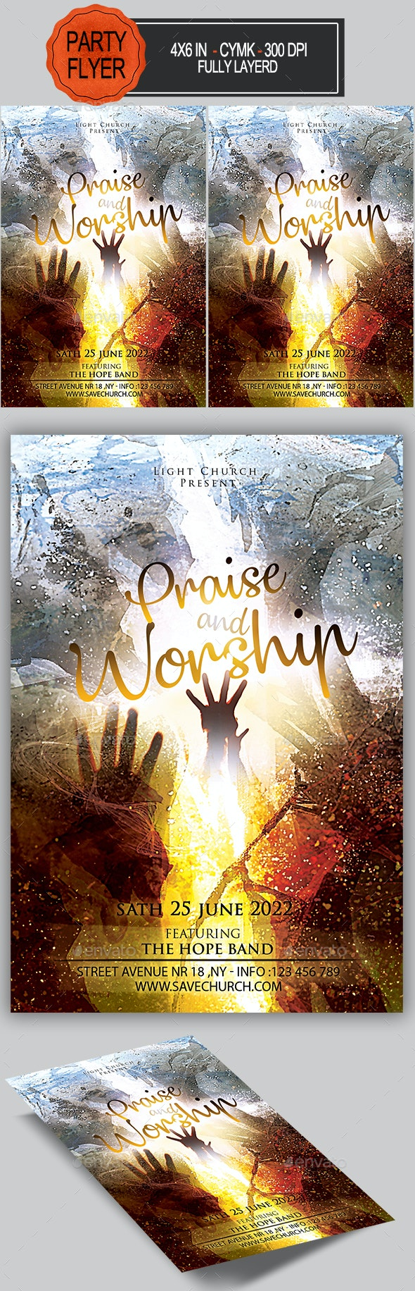 Worship and Praise Flyer - Church Flyers