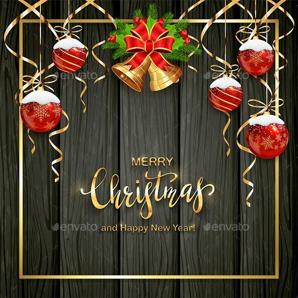 Black Wooden Background with Christmas Balls - Christmas Seasons/Holidays