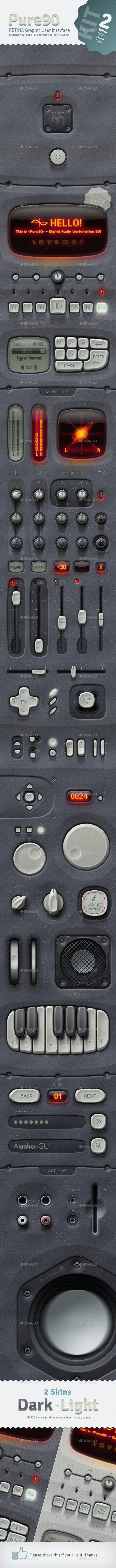 Pure90 - Retina Digital Audio Workstation GUI Kit - User Interfaces Web Elements