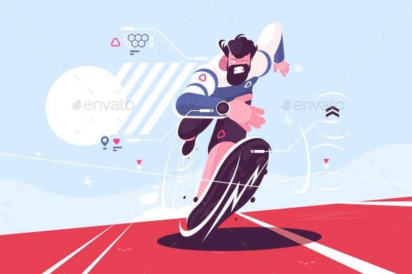 Bearded Dude Running Fast on Stadium - Sports/Activity Conceptual