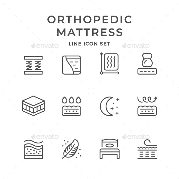 Set Line Icons of Orthopedic Mattress - Man-made objects Objects