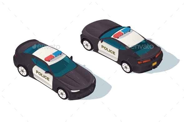 Urban Modern Sedan Police Car for Protection - Man-made Objects Objects