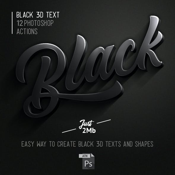 3D Black Photoshop Action