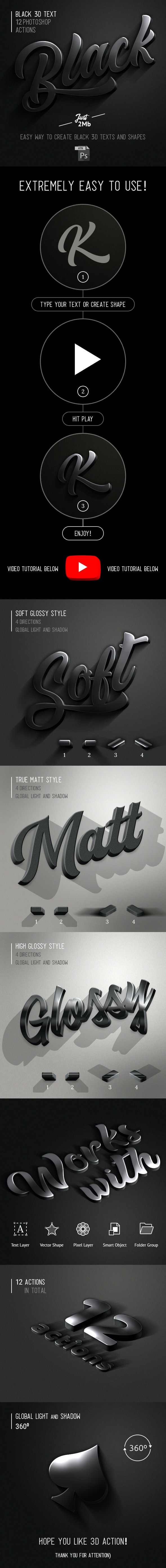 3D Black Photoshop Action - Text Effects Actions