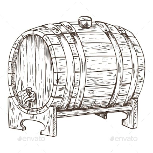 Beer Barrel Vintage Keg Sketch Vector Illustration
