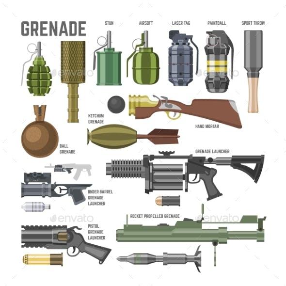 Gun Vector Military Weapon Grenade-Gun Army