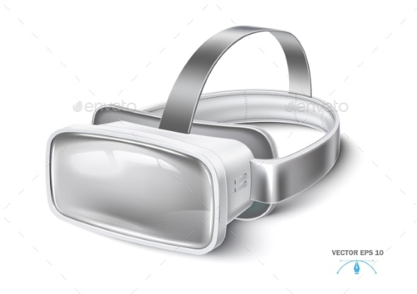 Vector Virtual Reality Headset, VR Mask Mock Up - Technology Conceptual