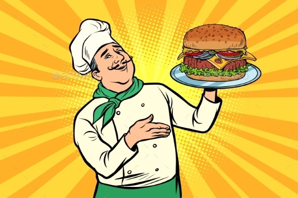 Chef with Burger - Food Objects