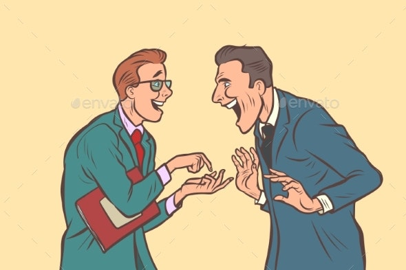 Two Businessmen Talking and Laughing - Concepts Business