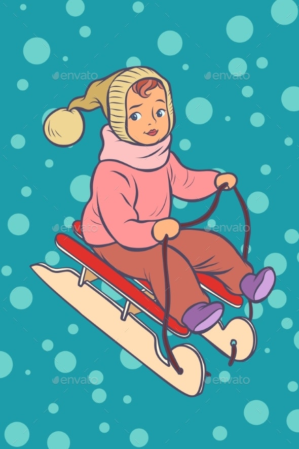 Child on a Sled - People Characters