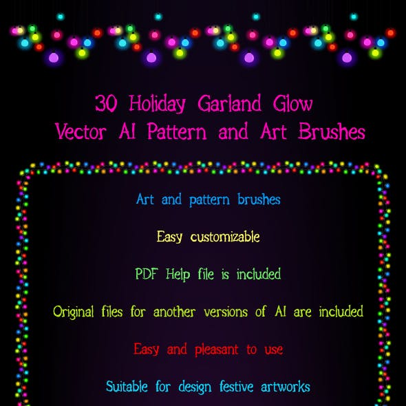 30 Festive Garland Light  Adobe Illustrator Brushes - Magical Shine and Glow on your Artwork