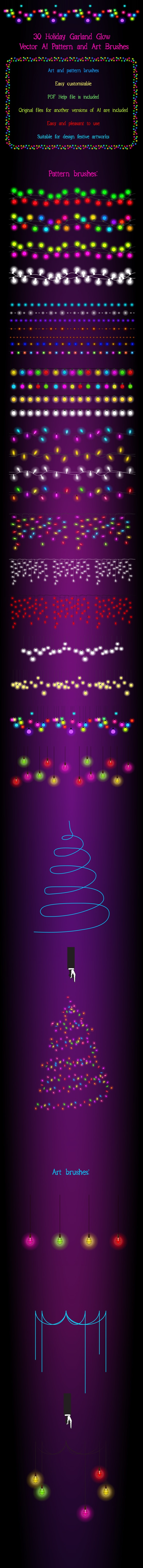 30 Festive Garland Light  Adobe Illustrator Brushes - Magical Shine and Glow on your Artwork - Miscellaneous Brushes