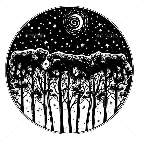 Night Starry Forest of Tall Trees Silhouette. - Flowers & Plants Nature
