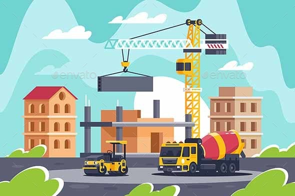 Construction of Building with Heavy Machinery - Industries Business