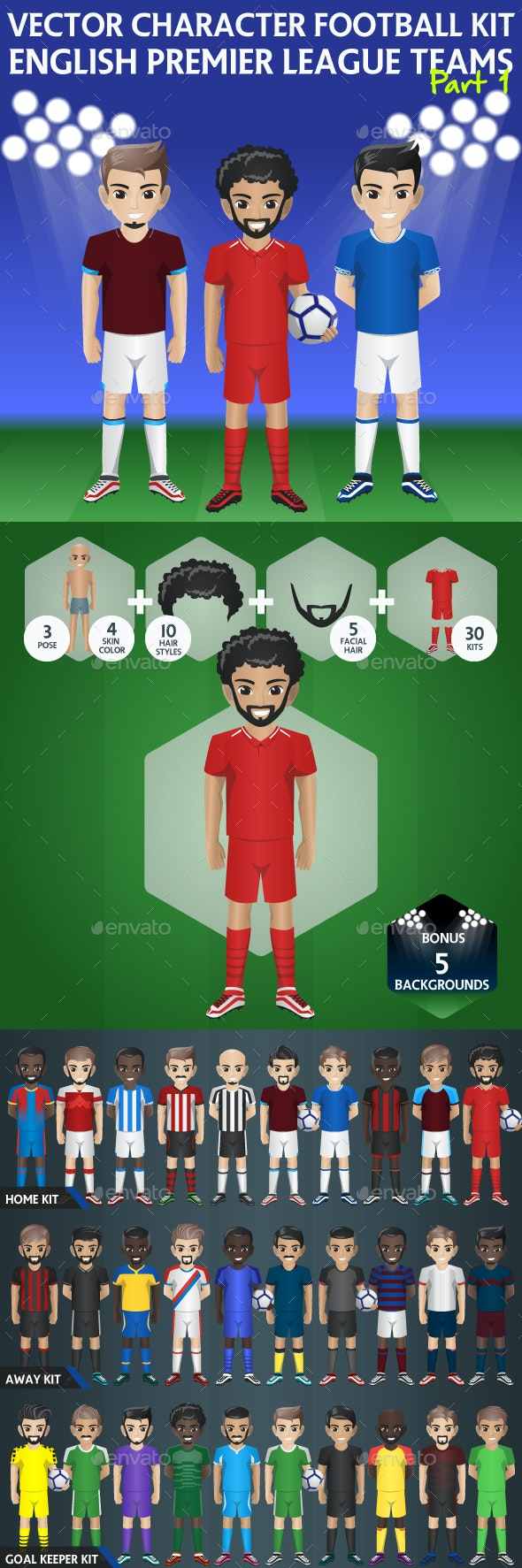 Soccer Team Kit with Customize Character - Characters Vectors