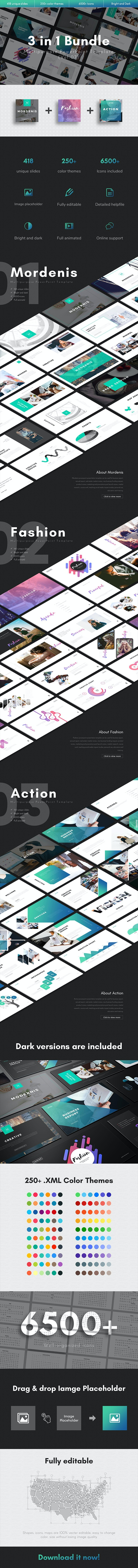 3 in 1 Multipurpose PowerPoint Template Bundle (Vol.07) - Business PowerPoint Templates