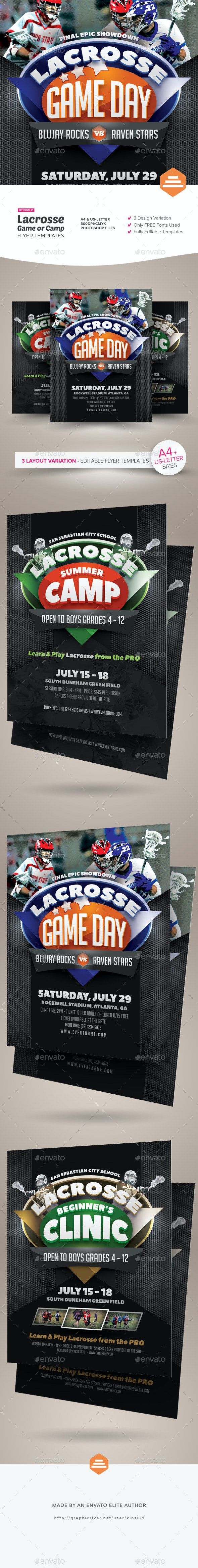 Lacrosse Game or Camp Flyer Templates - Sports Events