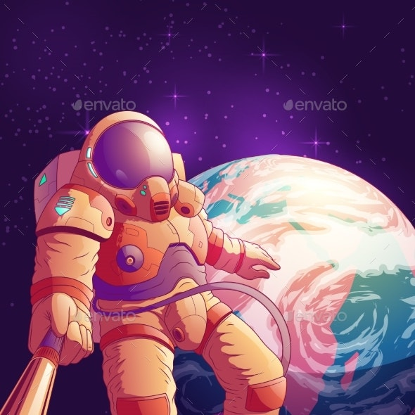Astronaut Making Selfie in Outer Space Vector - People Characters