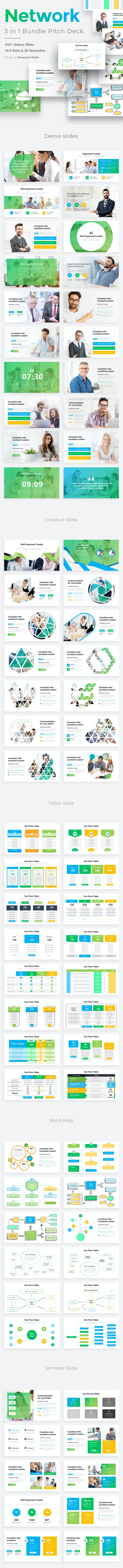 Business Network Bundle 3 in 1 Pitch Deck Powerpoint Template - Creative PowerPoint Templates