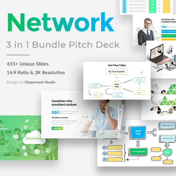 Business Network Bundle 3 in 1 Pitch Deck Powerpoint Template