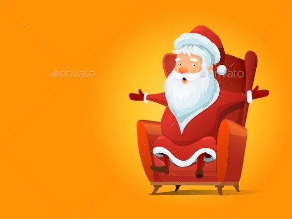 Santa Claus Cartoon Vector Illustration - Seasons/Holidays Conceptual