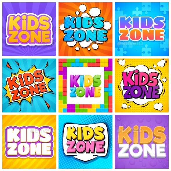 Kids Zone. Kinder Playroom Banners for Design - Miscellaneous Vectors