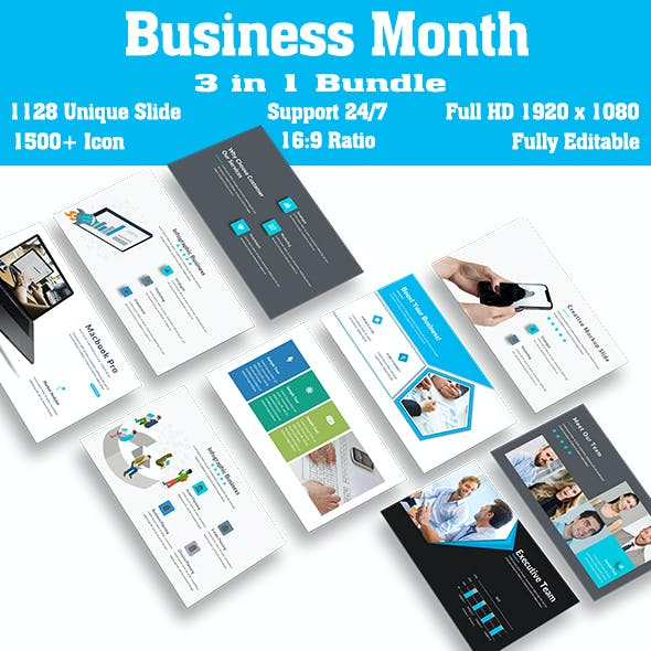 Business Bundle Month 3 in 1 PowerPoint Template