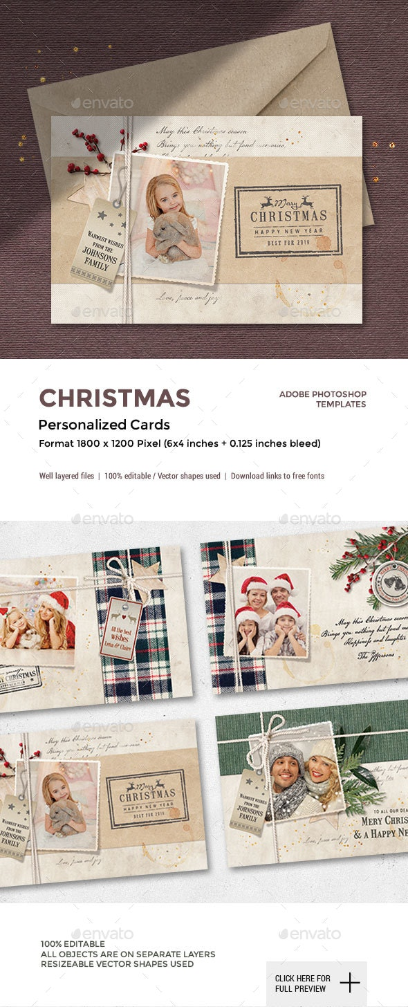 4 Personalized Christmas Photo Cards - Cards & Invites Print Templates