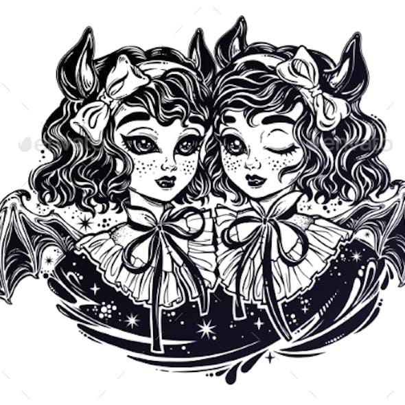 Gothic Victorian Twin Witch Demon Vampire Girls