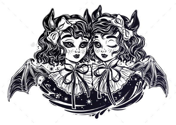 Gothic Victorian Twin Witch Demon Vampire Girls - Monsters Characters