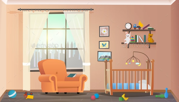 Vector Illustration Concept Children Room Interior - Business Conceptual