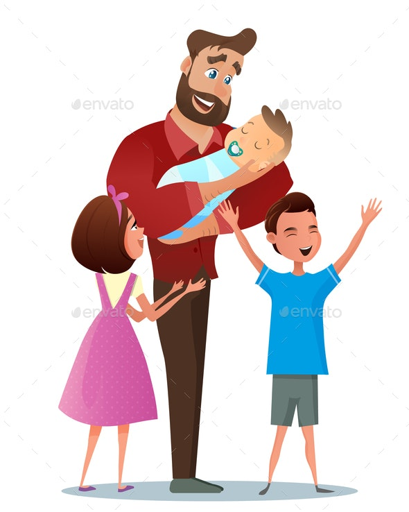 Vector Cartoon Illustration Concept Happy Family - People Characters
