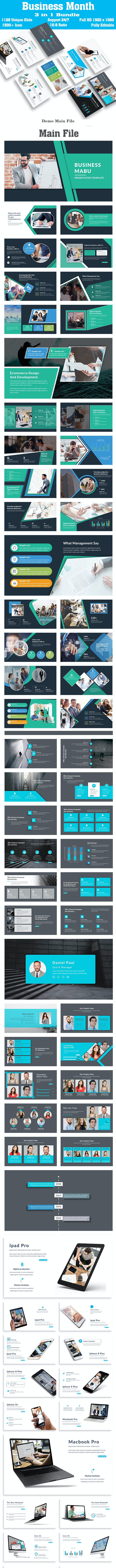Business Bundle Month 3 in 1 Keynote Template - Business Keynote Templates