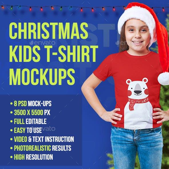 Christmas Kids Girl T-Shirt Mockups. Vol 2